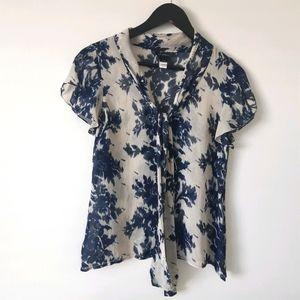 St. JOHN Silk Blue Floral Short Sleeve Blouse